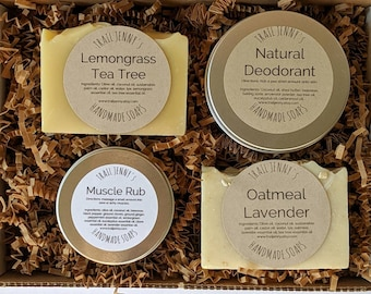 Natural Handmade Soap & Body Product Collection   Gift Box for Runners   Two Handmade Soap Bars, Natural Deodorant, and Natural Muscle Rub