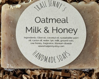 Oatmeal, Milk & Honey Handmade Soap Bar   Cold Process Soap made with Ground Oats, Milk, and Raw Honey  