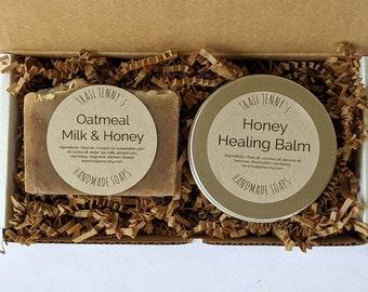 Oatmeal, Milk, & Honey Soap Bar and Healing Honey Balm Gift Set   Handmade Soap and Skin Care Balm   Raw Honey Skin Care Gift Box