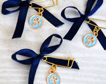 CCMN111 Guest Favors - 10 pcs Witness Pins Orthodox Baptism Christening Martirika Martyrika Pin Mati Handmade Ceramic Cross Evil Eye