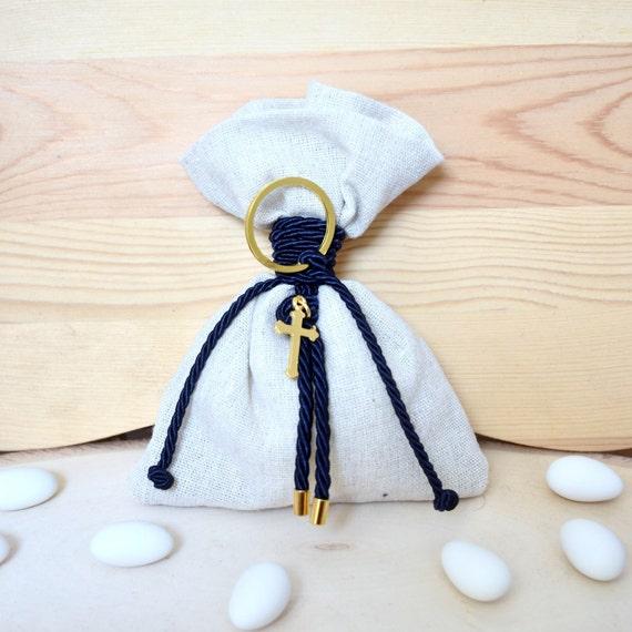 10 Gold Cross Key Chain Baptismal Favors Communion Wedding Christening Favor