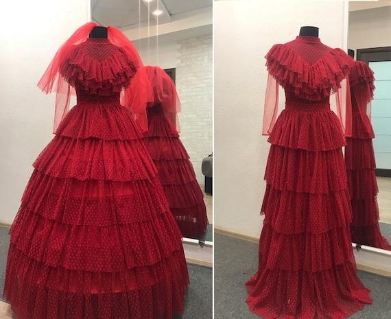 Beetlejuice Winona Ryder As Lydia Deetz Red Dress Halloween Etsy