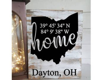 Home Coordinate Sign- Coordinate Sign- Home State Sign- Home State Decor- Coordinate Home Sign- Vinyl Sign-Rustic State Signs- Home Signs
