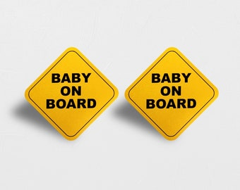 bc97d8477ec 2 PACK - Baby On Board Reflective Car Magnet