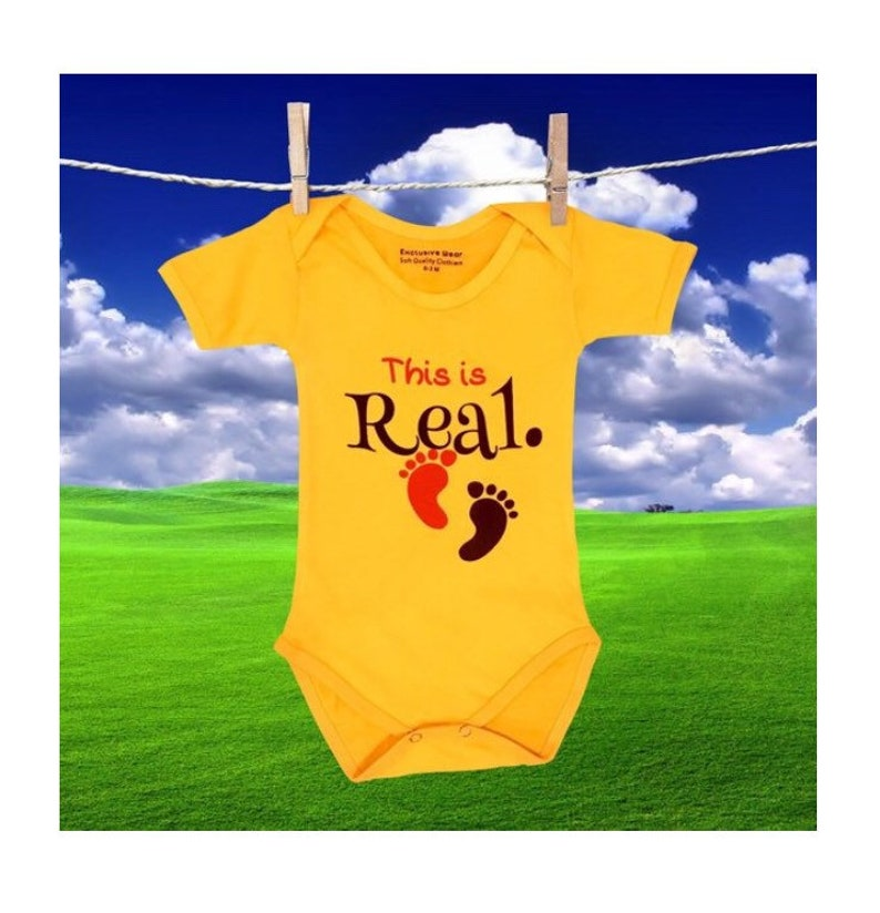 Bright Yellow Color and Soft 100/% Cotton Pregnancy Announcement Baby One-Piece Bodysuit Great Pregnancy Reveal