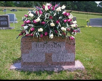 Cemetery Flowers Headstone Saddle Grave Decoration Memorial Personalized Cemetary For Cemeteries Sympathy Mom Dad Her