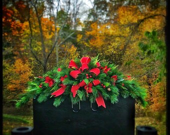 christmas cemetery flowers winter grave decoration headstone saddle memorial arrangement grave pillow grave blanket decorations - Christmas Grave Decorations