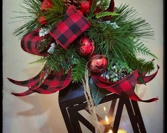 christmas lantern swag buffalo plaid holiday decor buffalo check rustic christmas lantern centerpiece christmas decorations wedding