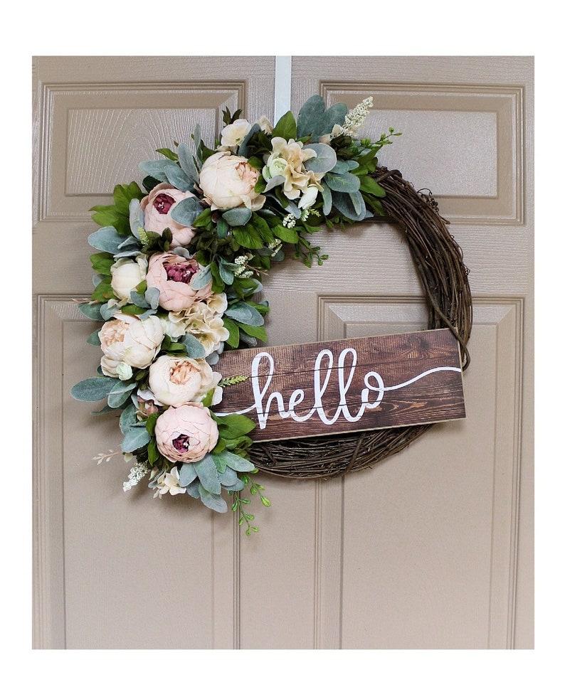 Front Door Wreaths Spring Wreath Hello Sign Peony Home image 9