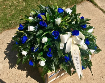 Cemetery Flowers Grave Decoration, Headstone Saddle Memorial Flowers, for Mom, Mother, Grandma, Aunt, Loved One, Tribute, Honor Gift Funeral