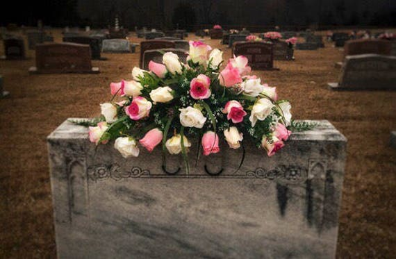 Cemetery Flowers Pink Roses Saddle Headstone Saddle Etsy