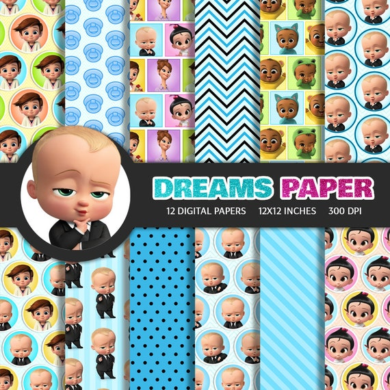 Baby Boss Tim The Triplets Staci Jimbo Digital Paper Printable Scrapbooking Background Pattern Party Clipart
