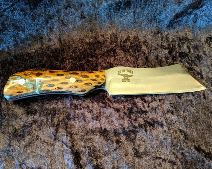 Cholla cactus hunting, chopping, gentleman's knife with turqoise inlay handles