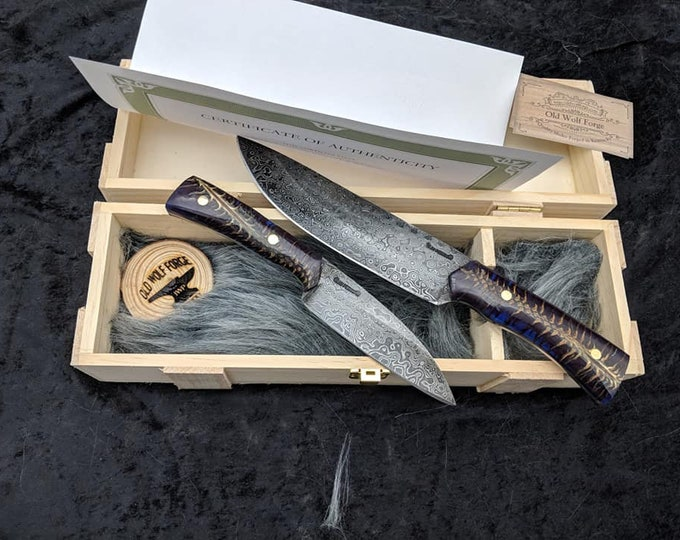 Damascus Kitchen Knife Set, Hand Forged