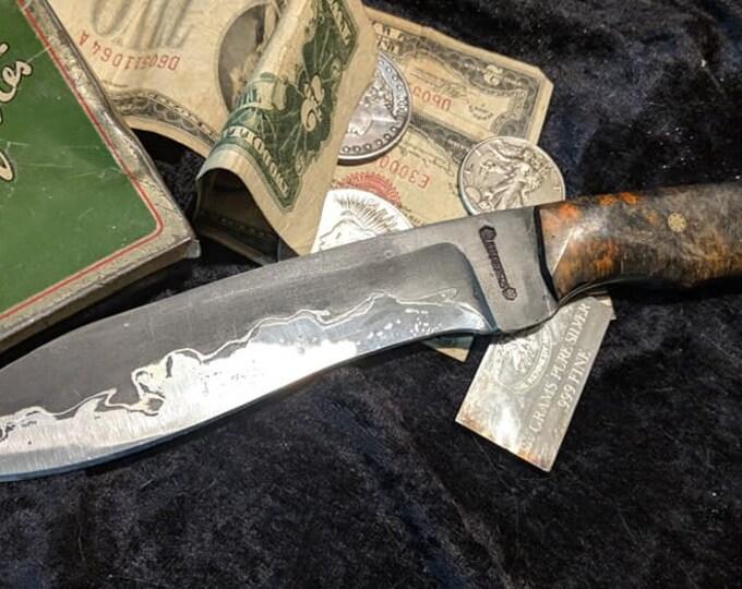 Go Mai Damascus Mini Khukri Style Hunting Knife