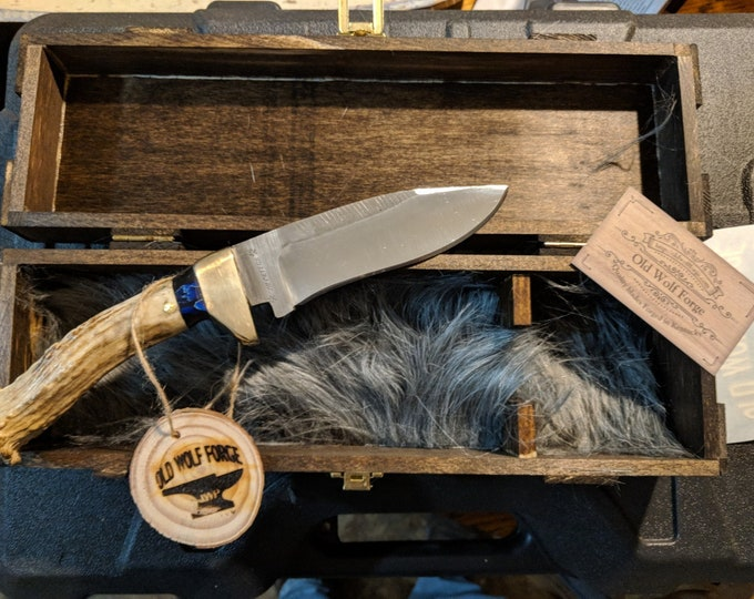 Hand Forged Rasp Drop Point Hunter with Antler Handle