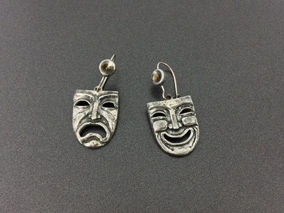 Vintage Sterling Silver Theater Faces Earrings