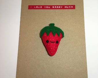 Strawberry Magnet Card (I love you Berry much)