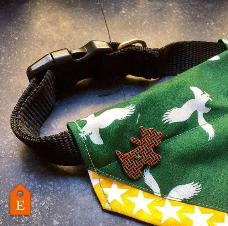 Green and Yellow Eagle Star Print Design Over the Collar Dog Bandana