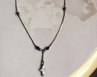 Vintage steel cross necklace