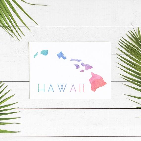 image about Printable Map of Hawaii named Hawaii Map Print, Hawaii Country Map, Hawaii Nation Indication, Hawaiian Decor, Printable Map, Watercolor Map Print, Hawaii Artwork Print, Household Decor