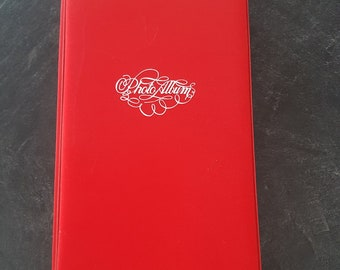 Vintage/Retro/Photo Album/Red/Bright/Colourful/White Script/Printed/Binder/Sleeves/Brownie Camera/Dated/Lovely/Stationary/Photography/Large