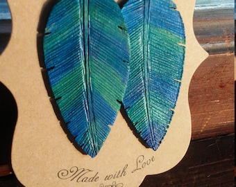 It is well with my soul inspired wooden feather earring Women's Christian jewelry. Perfect gift for her. Mother's day gift. Gift for grandma