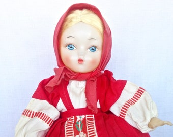 Charming Vintage 1970s Russian Soviet Doll Tea Cosy Warmer in Original Folk Traditional Outfit  - Red/White/Embroidery - w/ Original Label