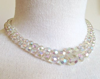 bfd8c3fe96b Vintage Top Quality MADE AUSTRIA Double Strand Aurora Borealis Clear  Iridescent Crystal Faceted Bead Necklace - Bridesmaid - Party -Birthday
