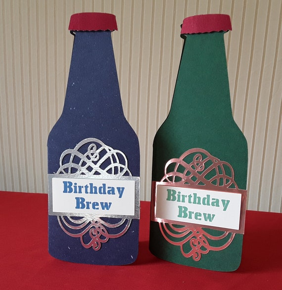 Mens Beer Bottle Shaped Birthday Card FREE SHIPPING