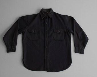 94bffa8638f 1950s Women CPO wool shirt - Dark navy blue - Melton Wool - USN - Women S M