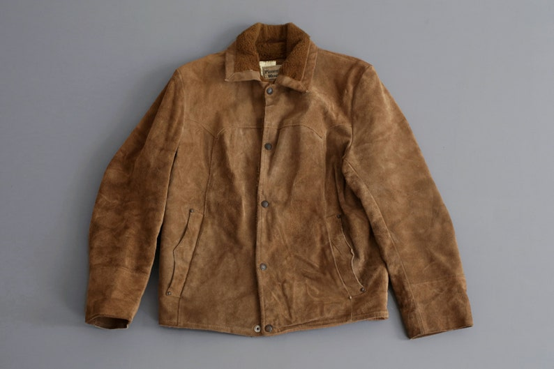5b01bc4b18d Vintage Western Rancher Brown Suede Leather Sherpa Jacket