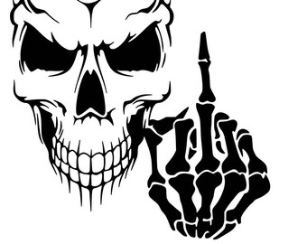 e02f52f1b7a06 Skull Vinyl Decal Sticker Car Window Art Wall Design Skeleton Middle Finger
