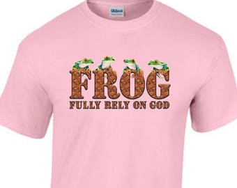 Fully Rely On God FROG Christian Jesus Religious TEE SHIRT Small-5XL