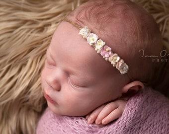 Babyfotografie Taufe Newborn Props Tieback Boho Baby Haarband  Stirnband zum Binden Lovely Rosa