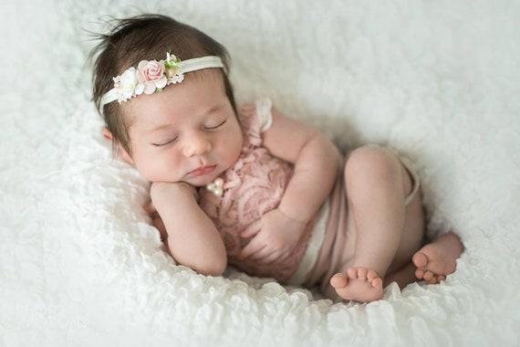 Stirnband Baby Taufebaby Stirnband Taufetaufe Mädchentaufe Geschenk Mädchenhaarband Mädchenhaarband Blumenhaarband Hochzeittaufe