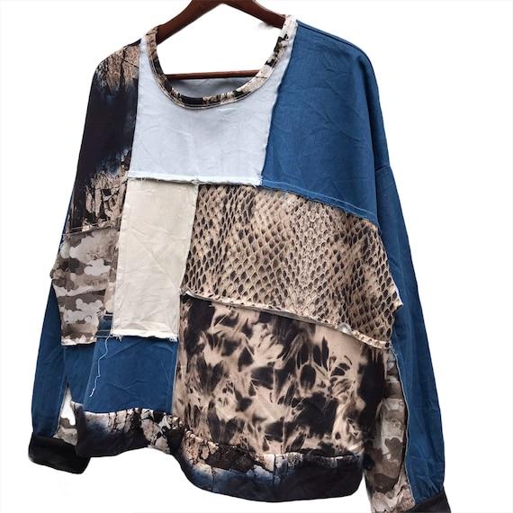 Vintage Zara patchwork Crewneck Sweatshirt - image 2
