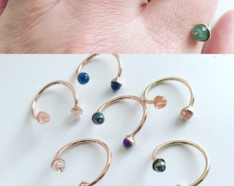 Semi-precious stones and Freshwater Pearl ring