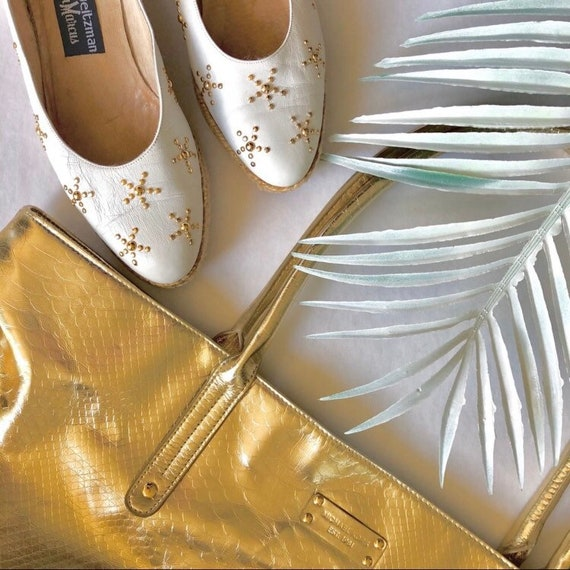 Stuart Weitzman shoes, Vintage, white leather, gol