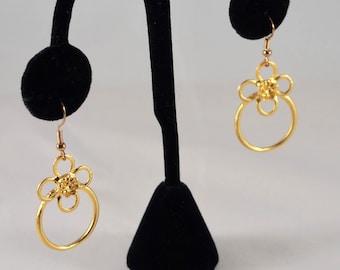 Flower Pendant w/ 14k Gold Earrings | Matte Gold Ring | Flower Earrings | Gifts for Her