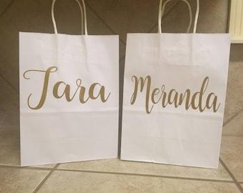Set Of 6 Custom Name Gift Bags