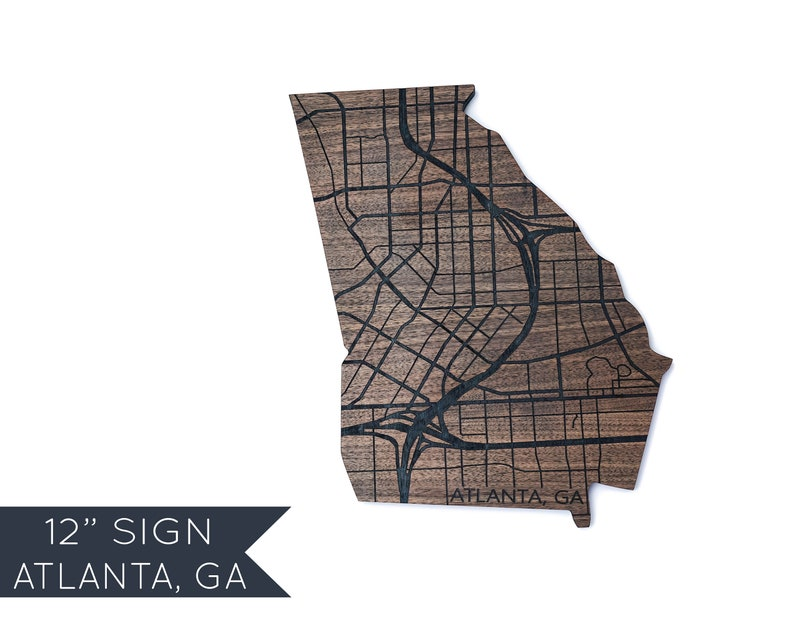 Show A Map Of Georgia.Atlanta Georgia Sign Atlanta Map Wood Decor Wood Birthday Ideas For Husband Personalized Wood Travel Map Rustic Wood Gift For Couple