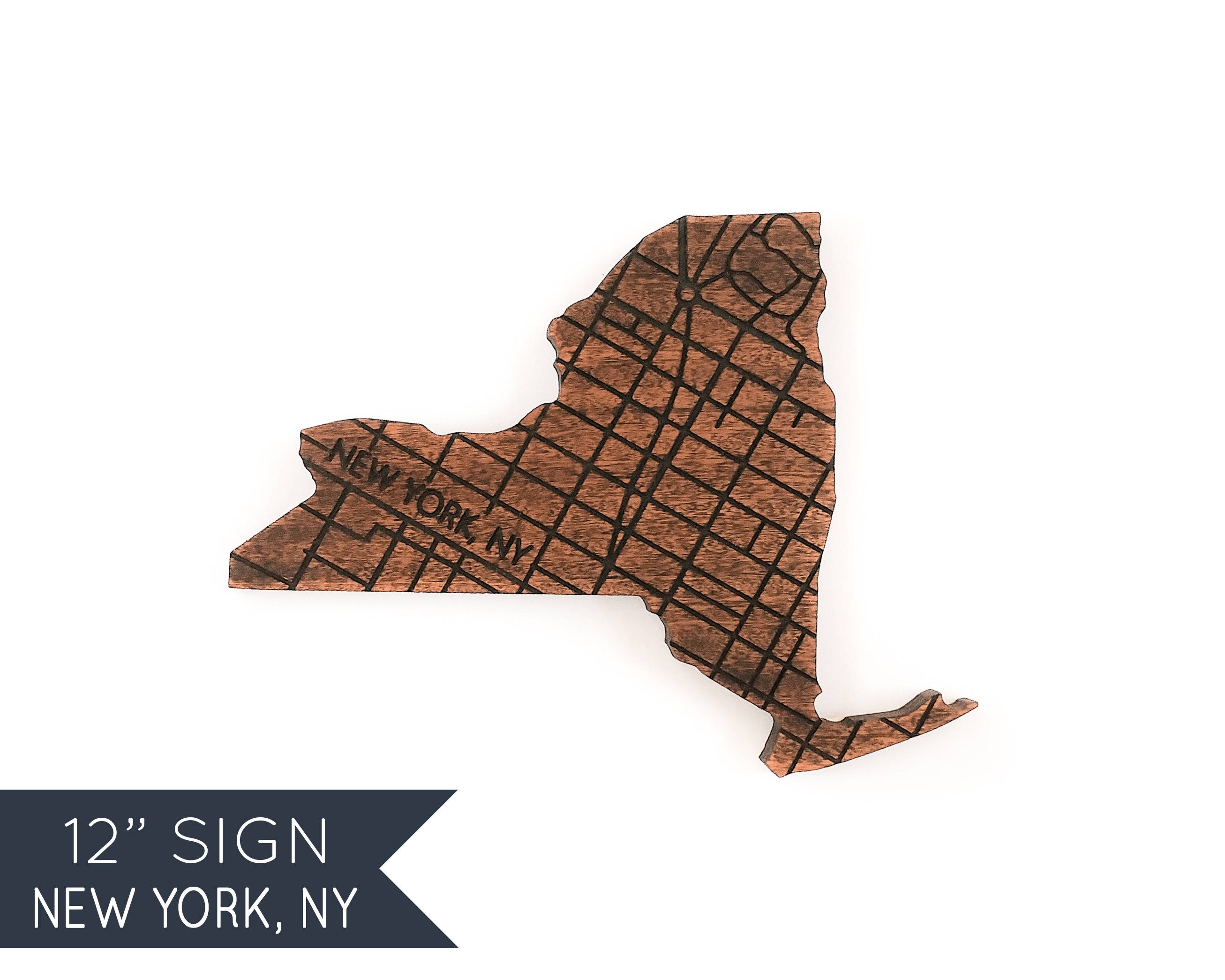 Engraved New York Wood Gifts Map Wall Decor Wooden