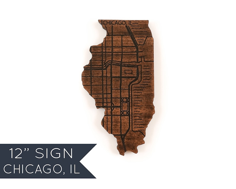 Chicago Wood Sign Map Wall Art Illinois Gifts