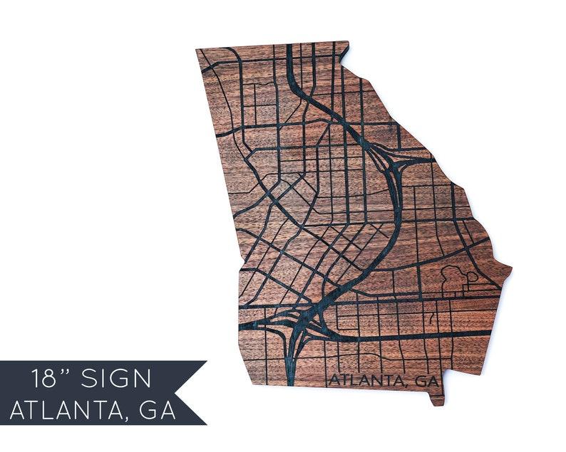 Atlanta Map Sign Georgia Wood Home Decor Wall Art