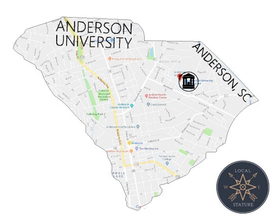 Anderson University South Carolina Map Wall Art College | Etsy