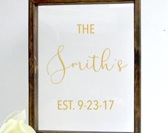 Last Name Established Sign, Last Name Wedding Gift, Wedding Established Sign, Wedding Signs, Family Name Gift, Custom Wedding Gift, Wedding