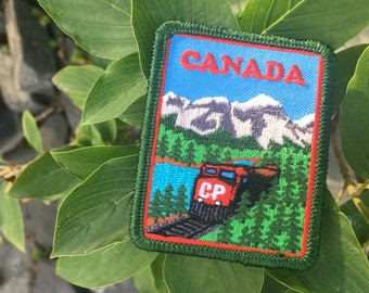 Train – Canada Patch – Travel Patch – Iron-On and/or Sew-On – Colourful Embroidered Patch