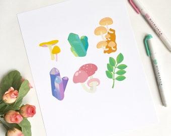 Crystals and Fungi Print