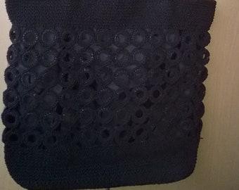 VINTAGE handbags elegant black hand-made